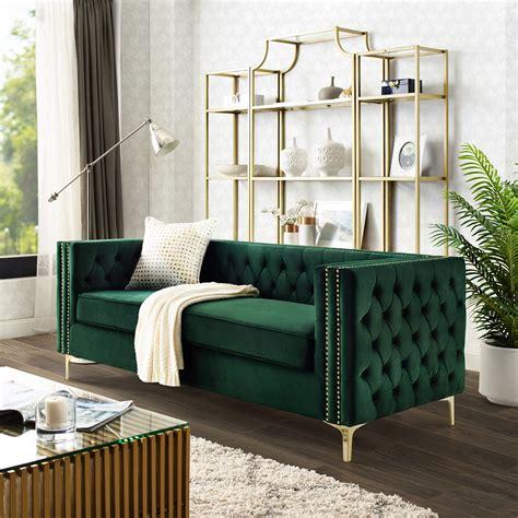 Green Sofa by Sania Green Velvet Sofa 3 Seat Nailhead Trim