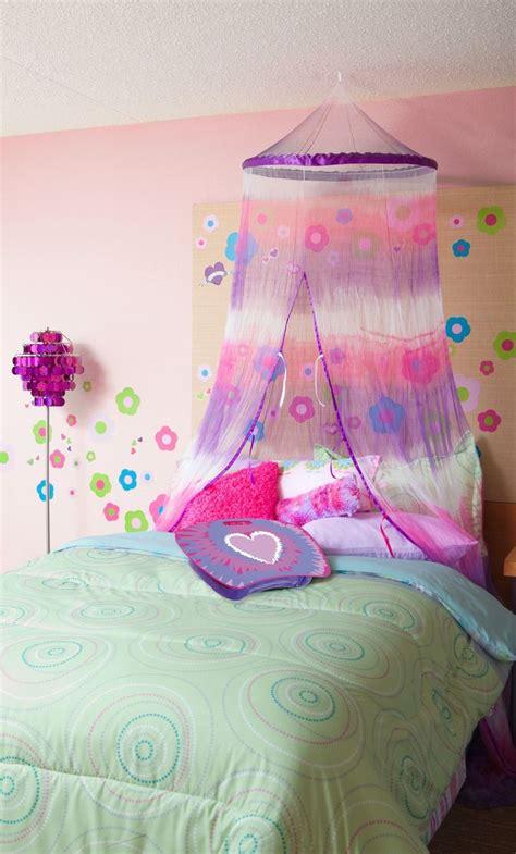 purple  pink tie dye bed canopy  girls purple