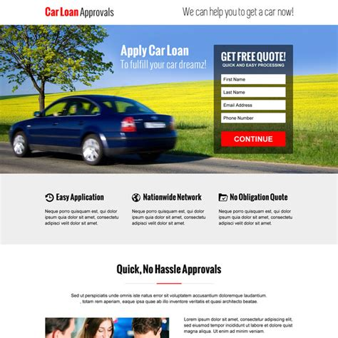 Cash Loan, Car Loan And E-loan Landing Page Design
