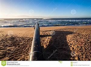 Storm Water Pipe Beach Ocean Stock Image
