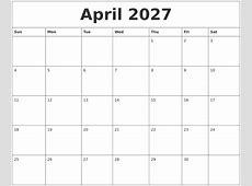 April 2027 Calendar Free Printable