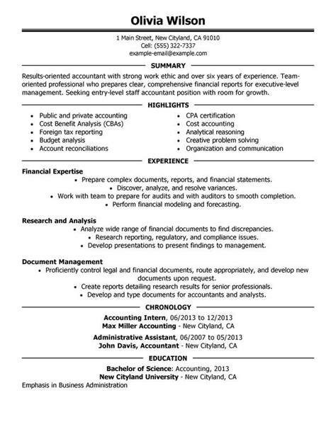 Accounting Intern Resume by Accounting Resume Exles 2015 Resume Templates And Cv