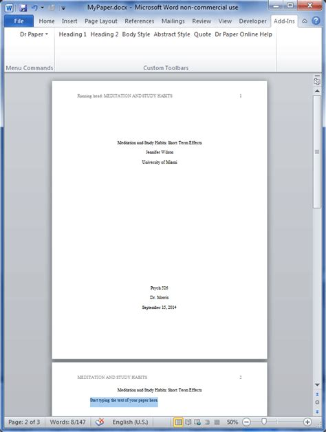 Turabian Formate Template Microsoft Word by Dr Paper Software