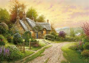 home interiors kinkade prints kinkade summer cottage house flower road
