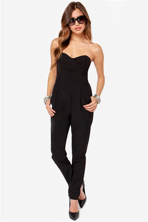 strapless jumpsuit black strapless jumpsuits dressed up
