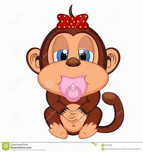 Cute Baby Monkey Cartoon Stock Vector - Image: 58954636
