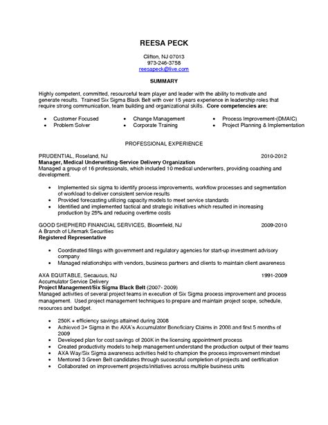 process improvement resume sle resume template 2017