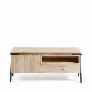 Meuble Tv Metal Bois : meuble tv design bois massif et m tal 1 tiroir 1 porte spike by drawer ~ Teatrodelosmanantiales.com Idées de Décoration