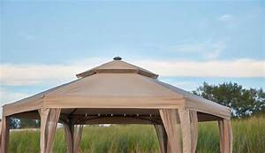 10 x 10 outdoor gazebo canopy w mosquito netting With outdoor lights on netting