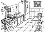 Kitchen Coloring Drawing Pages Table Cooking Utensils Printable Drawings Getdrawings Fire Pag sketch template