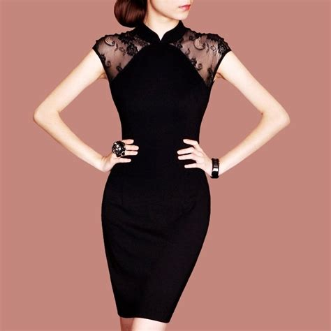 Free shipping New arrival Elegant ladiesu0026#39; dresses black lace decorated vintage Chinese Qipao ...