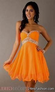short neon orange prom dresses 2016 2017