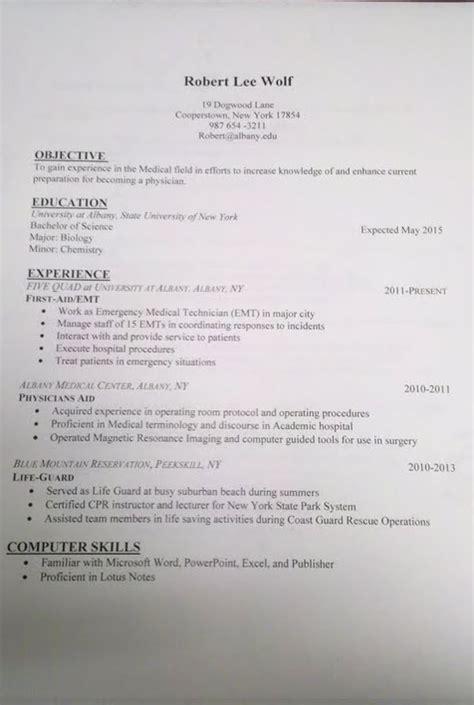 Med School Resume by Premed Resume Help School Students