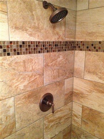 stand  shower  brick set   glass tile