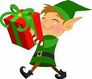 Clip art of a grinning elf carrying a large wrapped ...