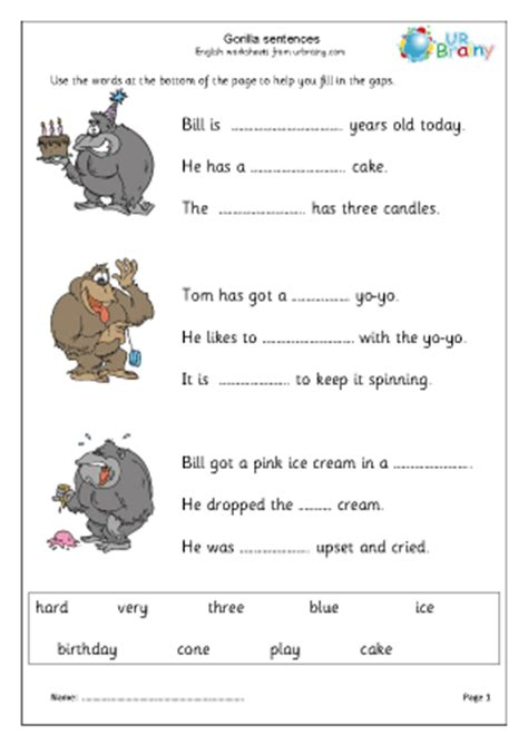 gorilla missing words
