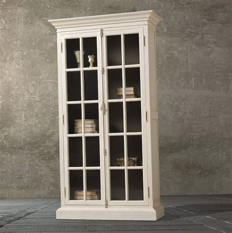 antique white bookcase  glass doors reading space