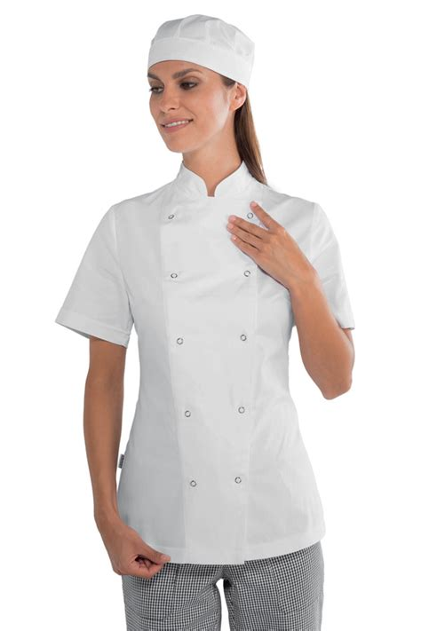 tenu de cuisine veste de cuisine femme à boutons pression 100 coton