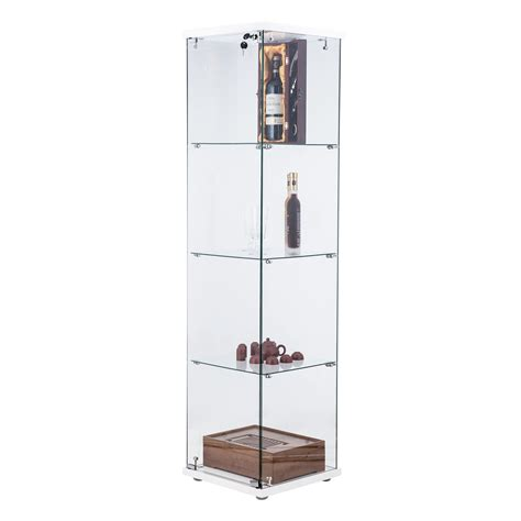 Glass Curio Cabinets Showcase Locking Hinged Doors 4