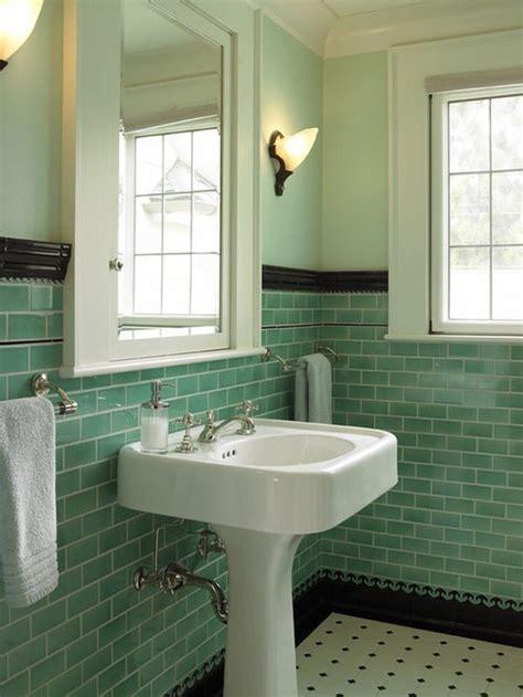 ceramic subway tile retro bathrooms vintage