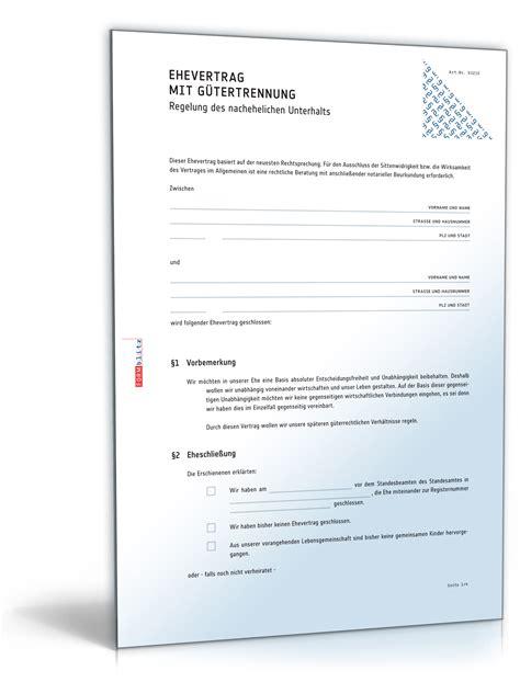 Ehe Scheidung Und Ehevertrag Bei Wohneigentuemern by Ehevertrag Mit G 252 Tertrennung