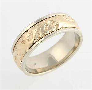 Camelot men39s engraved wedding ring 14k yellow white gold for Camelot wedding rings