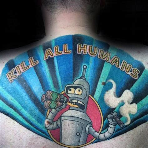 bender tattoo designs  men futurama robot ink ideas