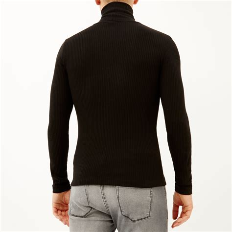 Roll Neck Rib River Island lyst river island black ribbed roll neck jumper in black