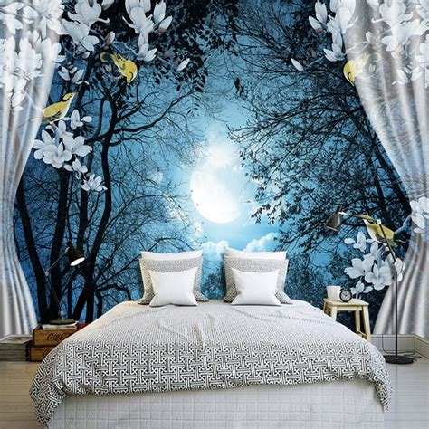 custom wall mural paper  window night forest moon flower