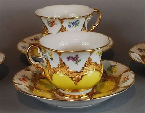 1200 x 905 jpeg 346 кб. Vintage Meissen Yellow Gold Tea Coffee Cups Set of 4 : Raritet Antique Gallery | Ruby Lane