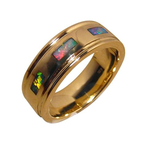 mens opal ring 14k gold bright colors opal rings men flashopal
