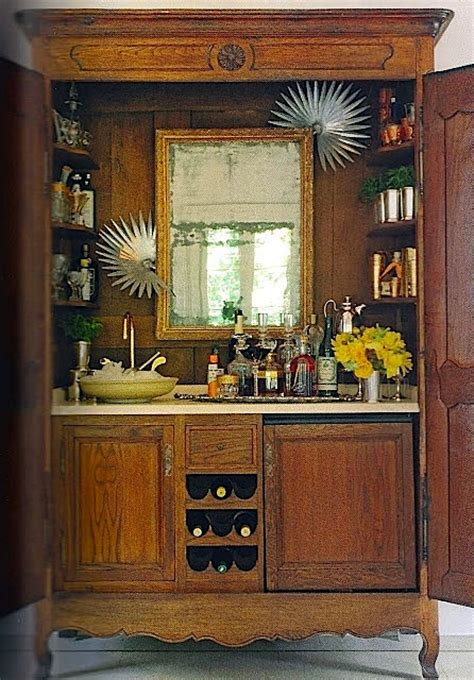 Armoire Cabinet Into A Bar by Creative Bar Set Ups For Entertaining