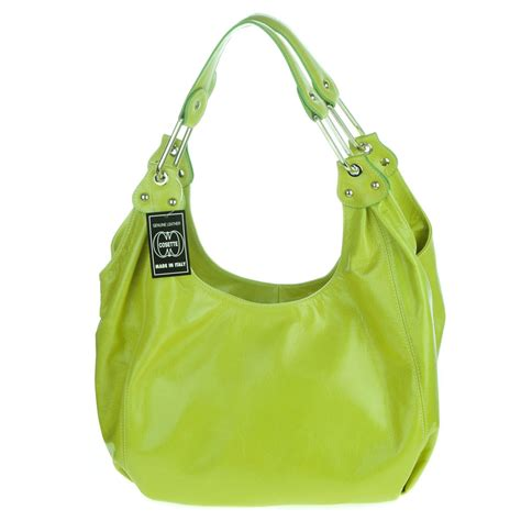 lime green glazed leather hobo bag   italy  cosette