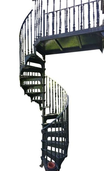 cast iron black spiral staircase  large balcony