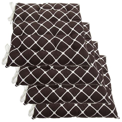 set of 4 cotton indoor reversible chair pads ties