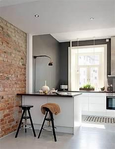 peinture cuisine 40 idees de choix de couleurs modernes With idee deco cuisine avec deco sur mur gris