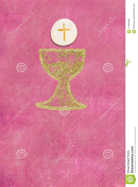 First Holy Communion Invitation Vertical Card Stock Photo