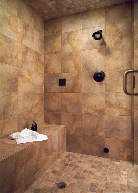large tile shower with bench bathrooms