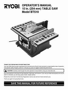 Ryobi Bts10 Table Saw Operator U2019s Manual