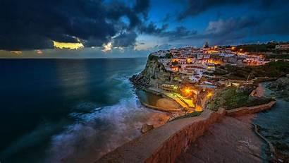 Portugal Night Town Mar Coast Wallpapers Ocean