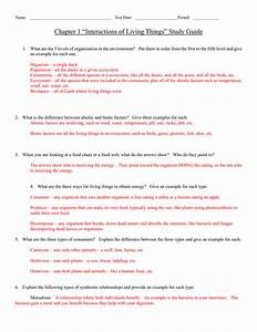 Chapter 1  U201cinteractions Of Living Things U201d Study Guide