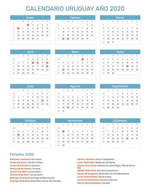 calendario de uruguay ano  feriados