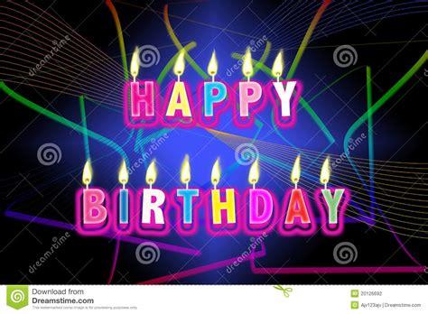 lade a neon prezzi candele di buon compleanno fotografia stock immagine