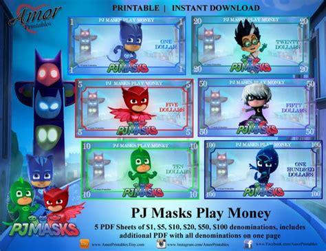 play money pj masks printable kids money pj masks party