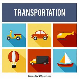 Flat Transportation Collection Vector | Free Download