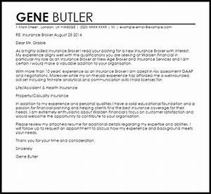 insurance broker cover letter sample livecareer With insurance cover letter