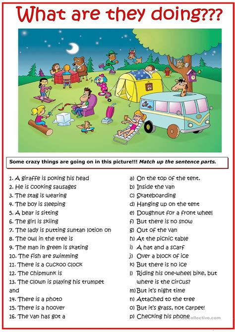 picture for present continuous tense practice test