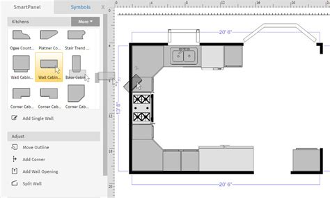 upper corner kitchen dimensions how to draw a floor plan with smartdraw
