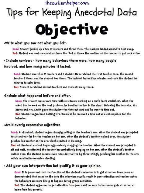 keeping it objective writing accurate anecdotal data 505 | anecdotal.0011