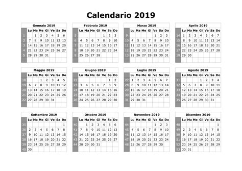 calendario annuale 2019 da stare gratis calendario 2019